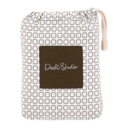 Squares Dove Grey Fitted Crib Sheet - This is a fabulously elegant alternative to the usual over-the-top baby bedding options. In standard Dwell Studio style, this 100% cotton percale crib sheet is printed with a chic pattern of rounded squares in Dove Grey.