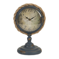 iMax - iMax Lewis Pedestal Clock X-71347 - Constructed of wrought iron in a distressed blue finish with the face wrapped in rope, the Lewis Pedestal Clock blends seamlessly into both nautical and industrial decor.
