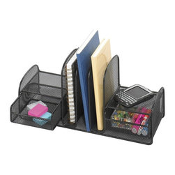 Safco - Onyx Mesh Multi-Purpose Desk Organizer in Black - Show off your great style as well as your organizational skills with this onyx mesh multi-purpose desk accessory.  It features four vertical slots for easy and quick access to your most important binders or files, with handy pull-out supply drawers  on either side. Two slide-out baskets. Three upright sections. Holds folders and binders. Side shelves designed for small electronics and miscellaneous accessories. GREENGUARD Certified. Made from steel. 17 in. W x 6.63 in. D x 7.75 in. H (3 lbs.)Organize with Onyx all over your office! The contemporary style of this mesh organizer goes great whether it's on your desk in your home or office. Mesh also makes a good impression in your reception area, printing area, supply room, mail room, classroom or media center. It's Meshy no more!