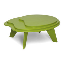 Loll Designs - Topo Table, Leaf Green - Designed with Eva Sobesky, the Topo Table is casually eye-catching and unexpected. This smaller, tiered table, is inspired by the concentric lines of elevation on a topo map. The Topo works well with Loll's lower slung lounge chairs and chaise lounges like the Cabrio, Vang, and Luge.