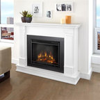 Real Flame - Silverton Electric Fireplace in White - 1400 Watt heater, rated over 4700 BTUs per hour. Programmable thermostat with display in Fahrenheit or Celsius. Ultra Bright LED technology with 5 brightness settings. Digital readout display with up to 9 hours timed shut off. Dynamic ember effect. Fireplace includes wooden mantel, firebox, screen, and remote control.. Solid wood and veneered MDF construction. 48 in. W x 13 in. D x 41 in. H (98 lbs.)Curl up by the comforting glow of the Vivid Flame Electric fireplace anywhere in your home. Ideal for living rooms, family rooms or bedrooms, the free-standing Silverton offers clean linesand transitional styling that will add instant ambiance to any home. The Vivid Flame Electric Firebox plugs into any standard outlet for convenient set up. The features include remote control, programmablethermostat, timer function, brightness settings and ultra bright Vivid Flame LED technology.