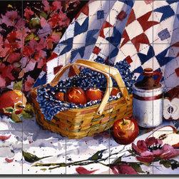 "Artwork On Tile - McEachron Fruit Apples Ceramic Tile Mural Backsplash 21.25"" x 17"" - RW-AM003 - * 21.25"" w x 17"" h x .25"" Ceramic Tile Mural on Architectural Grade, 4.25"" Tile w/Satin Finish"