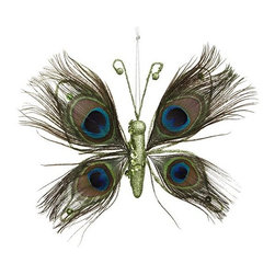 Home Decorators Collection - Peacock Butterfly Ornaments - Set of 4 - Our Peacock Butterfly Ornaments offer soft pops of color and texture for your holiday tree. Crafted of real feathers, each wing is green with two central bursts of vibrant purple. Includes both tree clips and strings for hanging. Made of feathers.