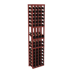 Wine Racks America - 4 Column Display Row Wine Cellar Kit in Pine, Cherry Stain - Make your best vintage the focal point of your wine cellar. Four of your best bottles are presented at 30° angles on a high-reveal display. Our wine cellar kits are constructed to industry-leading standards. Youll be satisfied with the quality. We guarantee it.