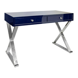 Worlds Away - Worlds Away Jared Lacquer Desk with X Base, Navy Stainless Steel - Worlds Away Jared Navy Lacquer Desk with Stainless Steel Base