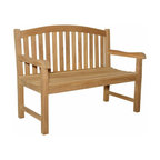 """Anderson Teak - Chelsea 2-Seater Bench - This beautiful """"curve back styling"""" has been designed for house or backyard with a lot of curve pattern, the bench will never go out of style, but quietly blends with any d_cor. We have made subtle but careful design changes to ensure excellent back support. Place a single bench under your trees; use a group of benches and chairs for entertaining. Quality built for generations. Cushion is optional and is being made by order."""
