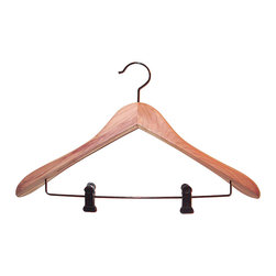 Proman Products - Proman Products Cedar Contoured Suit Hanger - Cedar contoured suit hanger with clips, wide shoulder, 12 pcs / case