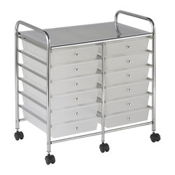 Ecr4kids - Ecr4Kids 12 Drawer Mobile Organizer White - A Mobile Organizer with tubular, chrome-plated steel frame and 12 drawers - perfect for sorting by the months of the yearThis practical organizer can hold just about everything from art and crafts projects to office supplies or even hand tools With its 12 drawers, its perfect for the home or office to sort by the months of the year.  Polypropylene drawers easily slide in and out on the chrome plated steel frame rails.  This double-wide, multi-purpose organizer glides effortlessly under most tables or desks on 6-swivel casters (2-locking).  Also available in Assorted (AS) and White (WH) colors.
