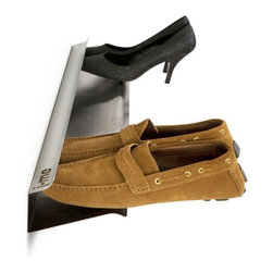 j-me design - Horizontal Shoe Rack, Steel, Large - The Horizontal Shoe Rack offers a modern, stylish & convenient way of storing shoes. The Horizontal Shoe Rack gives the appearance that shoes are floating off of the floor! If storing all your shoes is becoming a problem, this stainless steel horizontal shoe rack is the perfect solution. It comes in two (2) sizes: 28 inches and 48 inches and holds four (4) or seven (7) pairs of shoes respectively. The Horizontal Shoe Rack also comes in two (2) colors - brushed or white.