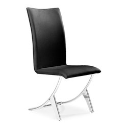 Zuo Modern - Delfin Dining Chair Black - Sold in Sets of 2 - Probably the most comfortable and well-thought out dining chair of our collection, the Delfin chair has a slim silhouette that belies its comfort. It sits on chromed steel tube frame that has a slight reclining motion. A great chair for a great meal and after dinner conversation.