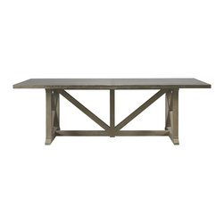 Lillian August - Lillian August Sander's Farm Table LA97008-01 - A modernized trestle and weathered nickel plated brass clad top give a fresh twist to this substantial swedish farm table. Weathered oak with aged and waxed nickel plated top.