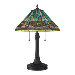 Quoizel - Quoizel Vintage Bronze Lamps - SKU: TF1508TVB - Elegant Tiffany style is a timeless staple of home decor. The various designs are hand-assembled using the copper foil technique developed by Louis Comfort Tiffany. With an enormous variety of colors and patterns to choose from, Quoizel Tiffany's have become more popular than ever.