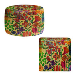 DiaNoche Designs - Ottoman Foot Stool by Kim Ellery - Golden Days - Lightweight, artistic, bean bag style Ottomans. You now have a unique place to rest your legs or tush after a long day, on this firm, artistic furtniture!  Artist print on all sides. Dye Sublimation printing adheres the ink to the material for long life and durability.  Machine Washable on cold.  Product may vary slightly from image.