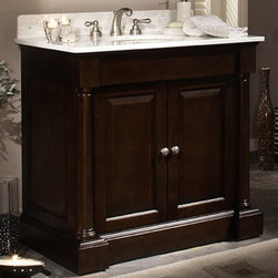 Sagehill Designs - Sagehill Designs PB3621 Palladio 36 in. Single Bathroom Vanity - PB3621 - Shop for Bathroom from Hayneedle.com! The free standing Sagehill Designs PB3621 Palladio 36 in. Single Bathroom Vanity is a graceful design that's beautifully crafted from select hardwood solids and veneers in a hand-rubbed merlot finish that's sure to give your bathroom a luxurious atmosphere. This vanity takes its design cues from ancient Greek architecture and features apron moldings a break-front plinth base with adjustable leg levelers delicately tapered half-round columns and raised panel doors. These doors boast antiqued pewter hardware and open to a generously sized storage area great for organizing towels and important toiletries. Sink faucet and matching mirror sold separately.About Sagehill DesignsWith Sagehill Designs it's all in the details. Since 1986 Sagehill Designs has been crafting superior quality kitchen and bath furnishings. Rich in detail that matter you'll find heirloom-quality finishes impeccable craftsmanship and generous storage wrapped in a smart design. You get it all with a Sagehill Design original. Sagehill Design's specialists in helping you create the perfect kitchen or bath environment.