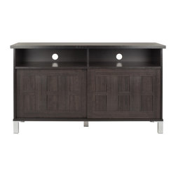 Safavieh - Safavieh Gable Dark Brown 2-Door TV Cabinet - Keep your game systems and other electronics neat and organized with this dark brown wood TV cabinet made by Safavieh. The Gable has two doors to hide your DVDs or games, and the shelves have cutouts in the back for discreet cable management.