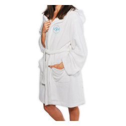 Grandin Road - Personalized Plush Hooded Spa Robe - Equipped with two pockets and an adjustable tie-off sash. An embroidered circle monogram is included with your order; add your initials (First name initial, Last name initial, and Middle initial). Block-style letters are embroidered in aqua thread. Pamper yourself or give one as a thoughtful gift: a lightweight, plush hooded spa robe is just right for chilly mornings and after stepping out of the shower. The soft fleece fabric is breathable and luxurious. Add an embroidered circle monogram; personalization is included.. . . Imported. Personalized items are not returnable.