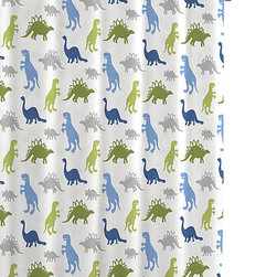 Luxor Linens - Bambi Dino Park Shower Curtains - Hang up this playful shower curtain and hang out with some prehistoric pals. Decked out with a cool collection of dinosaurs in blues and grays and greens, it's a bathtub addition that's so much fun, you may find pre-bath protests going extinct in your house.