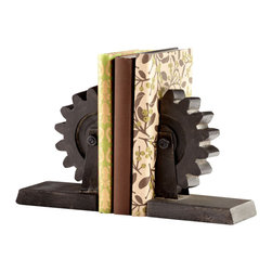 Cyan Designs - Gear Bookends - Add a touch of the industrial chic look to your office with these gear bookends.  The bookend design is inspired by the gears used in the Industrial Revolution, an era in which many of our nation's railroads and buildings were originally built. The bookends are made of iron and finished with rust to give an antique feel.    Product Details: