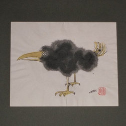Audrey Mabee, 1970 'Ridiculous Birds I Have Known' Series #4 - 1970, 'Ridiculous Birds I Have Known' #4; signed watercolor on Chinese rice paper; acid-free mat; overall size 14 w. x 11 h. Please allow additional lead time as this artwork is shipped from Canada (to Seattle), before being shipped to buyer.