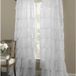 "Gypsy Ruffled Panel White 60"" Width x 84"" Length - High Quality"