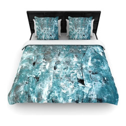 "Kess InHouse - CarolLynn Tice ""Shuffling"" Teal Blue Cotton Duvet Cover (Queen, 88"" x 88"") - Rest in comfort among this artistically inclined cotton blend duvet cover. This duvet cover is as light as a feather! You will be sure to be the envy of all of your guests with this aesthetically pleasing duvet. We highly recommend washing this as many times as you like as this material will not fade or lose comfort. Cotton blended, this duvet cover is not only beautiful and artistic but can be used year round with a duvet insert! Add our cotton shams to make your bed complete and looking stylish and artistic!"