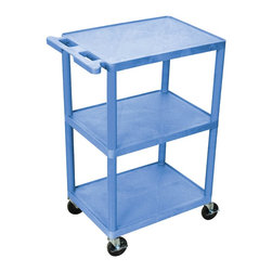 "Luxor - Luxor Transport Cart - HE42-BU - The HE42 is a three shelf utility cart made of high density polyethylene structural foam molded plastic shelves and legs that won't stain, scratch, dent or rust. Features a retaining lip around the back and sides of flat shelves. Includes four heavy duty 4"" casters, two with brake. Has a push handle molded into the top shelf. All shelves are reinforced with two aluminum bars.   This HE42 cart is three shelves  18""D x 24""W x 41""H Clearance between shelves is 16""  Surge suppressing electrical assembly has 3-outlets 360 degree swivel cord wrap that attaches to the leg of your choice.   Easy assembly. Made in USA"