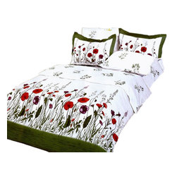 Le Vele - Garden 6pc Floral Full/Queen Modern Bedroom Bedding Duvet Cover, Le Vele LE120Q - A vivid illustration of a floral garden is printed on this ensemble and against the white backdrop with a green frame is creating a pleasant outdoor atmosphere.