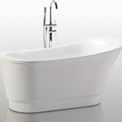 "HelixBath Olympia Freestanding Acrylic Bathtub 67"" White w/ Mechanized Overflow - Olympia, the deepest of the Helixbath soaking tubs. Contemporary windswept features. Ergonomic human design for hours of comfortable rejuvenation. Faucets pictured are for display purposes and not included with this tub. Designs created for bathing purists. The curves and lines are well conceived & uncomplicated. Helixbath�s well tailored soaking tubs provide an ergonomic comfortable spa experience. Featuring an easy to clean 3M Fade Resistant finish and stainless steel frame, Olympia is the very definition of beautiful longevity."