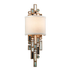 """Corbett - Dolcetti Linen Shade Silver 18.5"""" Wide Corbett Wall Sconce - The Dolcetti collection from Corbett Lighting features spectacularly detailed chic designs. This incredible Dolcetti silver wall sconce begins with a graceful frame hand-crafted in iron. Draped multi-colored mixed shells with crystal and stainless steel accents deliver a romantic feel to this wonderful wall light and a soft white linen half-shade covers the glowing bulb. From Corbett Lighting. Hand-crafted iron. Dolcetti silver finish. Mixed shells with crystal and stainless accents. Hardback linen shade. Takes one 40 watt candelabra bulb (not included). 6"""" wide. 18 1/2"""" high. Extends 3 1/2"""" from the wall.  Hand-crafted iron.   Dolcetti silver finish.   Mixed shells with crystal and stainless accents.   Hardback linen shade.   Takes one 40 watt candelabra bulb (not included).   6"""" wide.   18 1/2"""" high.   Extends 3 1/2"""" from the wall."""