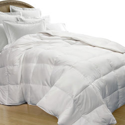 None - All Season Oversize White Goose Down Blend Comforter - Stay cozy and comfortable year round with this oversize white goose down comforter. This luxury comforter is full of soft goose down and feathers and features a sturdy 240 thread count cotton cover for added protection.