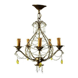 Used 1940s French Chandelier with Clear & Yellow Beads - A lyrical French crystal and beaded chandelier. Ideal for the boudoir, entry way, dining room, powder room. Pick from any number of applications! Wired for US standards and ready to install. Light up your life!