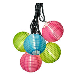 Lamps Plus - Light Blue, Pink and Green Lantern String Party Lights - Create a romantic setting and a soft, colorful glow with these colored lantern string party lights. Perfect for entertaining or adding ambience anytime, anywhere, each of the colored lantern party lights on this 10-piece strand is made of plastic. Safe to string indoors or outside, this set also includes an end connector, spare bulbs, two fuses, and green wire.