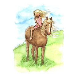 Murals Your Way - Horse Girl Wall Art - Painted by Phyllis Harris, Horse Girl wall mural from Murals Your Way will add a distinctive touch to any room