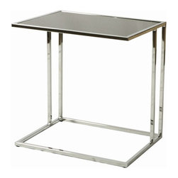 "Pastel Furniture - Pastel Furniture Norway 22x16 Rectangular End Table in Black - The Norway end table is a simple yet elegant design that can add that stylish and modern flair to your living area. This 22"" x 16"" rectangular end table comes in either black or white temp glass top with chrome base."