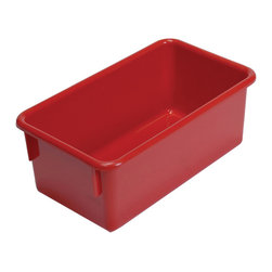 "Steffywood - Steffywood Home Plastic Storage Box Cabinet Red Tote Tray 13""L X 8""W X 5""H - Plastic, durable tote trays measure 5""H X 8""W X 13""L and fit our 15"" deep storage cabinets. All edges are rounded and smooth. GreenGuard certified.Fits our 15""cabinets. GreenGuard certified. All edges rounded and smooth."