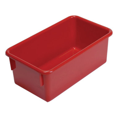 """Steffywood - Steffywood Home Plastic Storage Box Cabinet Red Tote Tray 13""""L X 8""""W X 5""""H - Plastic, durable tote trays measure 5""""H X 8""""W X 13""""L and fit our 15"""" deep storage cabinets. All edges are rounded and smooth. GreenGuard certified.Fits our 15""""cabinets. GreenGuard certified. All edges rounded and smooth."""