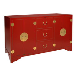 Dynasty Red TV Lift Cabinet - The Dynasty Red TV Lift Cabinet features an Asian-inspired style with solid maple hardwood, mild sand through finish and brass hardware. With TV Lift technology that raises and lowers your television in a near-silent way, this TV Lift Cabinet will also and hide your cords and keep electronics cool with six spacious, vented shelves. TV not included.