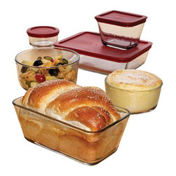 Anchor Hocking - Kitchen Storage Set 16 Pc. - 16 Pc. Kitchen Storage Set, (1 cup Round, 2 x 2 cup Round, 4 cup Round, 2 x 1-7/8 cup Rectangle, 4.75 cup Rectangle, 6 cup Rectangle w/Red Plastic Lids)