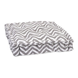 "IMAX - Grey Chevron Floor Cushion - This functional floor cushion features a fun grey chevron print fabric with tufted details. Item Dimensions: (20""H x 20"")"