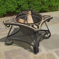 Alfresco Home - San Marco Mosaic Fire Pit / Beverage Cooler Table Multicolor - 21-1338 - Shop for Fire Pits and Fireplaces from Hayneedle.com! You'll fall in love with the unique shape and modern style of the San Marco Mosaic Fire Pit / Beverage Cooler Table. Tiles in tan black and gray creates a gorgeous color palette that complements any decor. Expertly crafted from hand forged wrought iron the frame of this fire pit is dipped in a zinc-phosphate bath and E-coated to create a weather-resistant coating. It's finished with a powder coating to provide an extra layer of rust-resistant protection but also creates a stronger richer frame color that lasts for years. With each tile expertly laid by hand to create a unique mosaic table top this fire pit is a beautiful and well-crafted piece. Made from natural sources such as marble slate and travertine each tile varies slightly in color resulting in each fire pit being truly unique. The top is then grouted with industrial adhesives for durability so the natural beauty of this table is maintained. An iron fire bowl spark plate and wood grate are included so you can make warm fires to sit around in the evening while a beverage cooler bowl allows you to turn this fire pit into the perfect coffee table for entertaining during warm days. Or simply place the centerpiece on top and have a simple yet elegant coffee table at your disposal. Whether you're roasting s'mores enjoying cider around the fire or enjoying a cold drink this table beckons you outside to spend time with family and friends. Additional Features Doubles as a fire pit and beverage table Place cover on top to create a regular table Frame is weather and rust resistant Made with rust proof stainless steel hardware Iron has a thickness of 5mm to 6mm Mosaic tiles are hand-set Tiles come from natural sources Sources include marble slate and travertine Colors will vary slightly on each fire pit No 2 fire pits are exactly alike Grouted with industrial adhesives for durabi