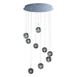 ET2 Lighting - ET2 Lighting-E24254-91PC-Orb - Nine Light Pendant - Brilliant Xenon lamps radiate from the center of perfect spheres in the Orb Collection. Clear Bubble glass allows for a brilliant glow as it mimics the fluid play of water and air and adds a theatrical sense of drama to the room. The restrained use of Polished Chrome complements the globes without detracting from their ability to mesmerize onlookers with an innate mystery.