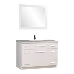 "Design Element Co. - 48 Inch Single Bath Vanity with Quartz Top, White, 48 Inch Single Sink Bathroom - The Moscony 48"" Single Sink Vanity is constructed with solid wood and provides a contemporary design perfect for any bathroom remodel. The ample storage in this free-standing vanity set includes four fully functional drawers placed at each corner of the cabinet, two single door cabinets across the center as well as one larger single door cabinet each accented with brushed nickel hardware. This cabinet is available in both espresso and in white and comes complete with a white quartz counter top and a large framed mirror. Dimensions: 48""W X 22""D X 34""H (Tolerance: +/- 1/4""); Counter Top: White Speckled with a Slight Blue Tint Quartz; Finish: White; Features: 3 Doors, 4 Drawers; Hardware: Satin Nickel; Sink(s): 20.5"" X 13"" X 7"" Undermount White Ceramic; Faucet: Pre-Drilled for Standard Single Hole (Not Included); Assembly: Light Assembly Required; Large cut out in back for plumbing; Included: Cabinet, Sink, Chrome Pop Up Drain, Mirror; Not Included: Faucet, Backsplash"