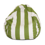 Majestic Home - Outdoor Sage Vertical Stripe Small Bean Bag - A great addition to any family room, playroom or outdoor seating arrangement, the Majestic Home Goods Small Bean Bag allows your child to read or watch a favorite show in the utmost comfort. Generously filled with eco-friendly polystyrene beads, this chair easily forms to your child's body for an ergonomic lounging experience. This bean bag has an outdoor treated polyester slipcover, with up to 1000 hours of U.V. protection that zips off for easy cleaning.
