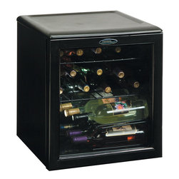 Danby - 17 Bottle Wine Cooler, Reversible Door, Tempered Glass Door, Worktop - Danby's Designer DWC172BL 17-Bottle Countertop Wine Cooler is a compact wine cooler that takes up little space but offers big storage. The counter top design provides a convenient and economical alternative to chilling wine in the fridge. The molded scratch-resistant worktop provides additional storage for accessories. The all black cabinet and tempered glass door with reversible hinge will suit almost any decor. All black cabinet will suit almost any decor