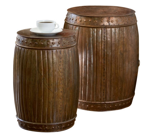 Fluted Round Barrels Copper Set of 2 - Product Features: