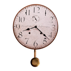 """Howard Miller - 620313 Howard Miller Antique Dial Round Wall Clock With Pendulum - Howard Miller Moment in Time 13"""" Wall Clock"""