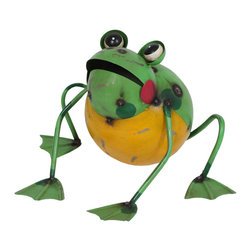 None - Frankie the Frog Garden Statue - A fun and colorful metal frog,Frankie is sure to make your yard or home feel a little more magical. The perfect pet to have around the backyard,he will be the happiest next to a water source or small pond.