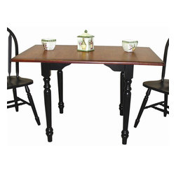 Sunset Trading - Eco-Friendly Drop Leaf Dining Table - Chairs not included. Versatile drop leaf table accommodating two to four people. One self storing 12 in. leaf. 8 in. two drop leaves. Warranty: One year. Made from eco-friendly Malaysian oak and solid handcrafted hardwood. Antique black and  cherry finish. Assembly required. Minimum: 34 in. L x 32 in. W x 30 in. H. Maximum: 48 in. L x 32 in. W x 30 in. H (68.29 lbs.)This beautifully designed dining table supplied by Sunset Trading will assure you many years of use and enjoyment. Add classic charm to your home without compromising space or style. Perfect for small dining area or cozy nook, this Sunset Trading - Sunset Selections Collection double Drop Leaf Table serves your day-to-day needs yet transforms into the extra needed dining space when guests drop by.