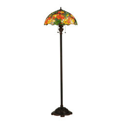 """Meyda Tiffany - Meyda 66""""H Lamella Floor Lamp - In all its natural beauty, a bouquet of blossoming flowers in Peach, Tangerine and Yellow hues bloom while surrounded by radiant Willow Green leaves and glistening Multicolored Rippled glass. This lamp is so beautiful that you will think you are sitting in an English Garden. This stunning Tiffany styled stained-glass shade, with a coordinating floor base in a warm Mahogany Bronze finish, will add a brilliant, luxurious elegance to your home."""