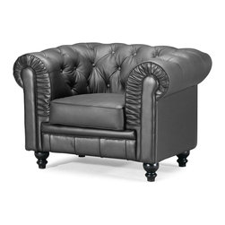 ZUO MODERN - Aristocrat Arm Chair Black - A modern take on a classic shape with ruffling, tufting, and buttons, the Aristocrat series comes in either black or white leather or silver leatherette with wood legs.